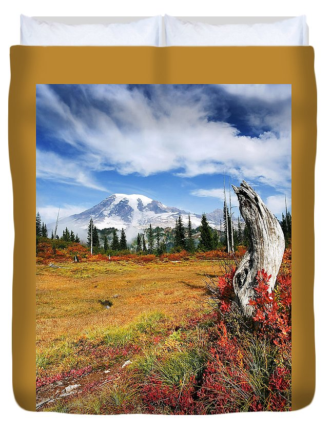 Rainier Duvet Cover featuring the photograph Autumn Majesty by Mike Dawson