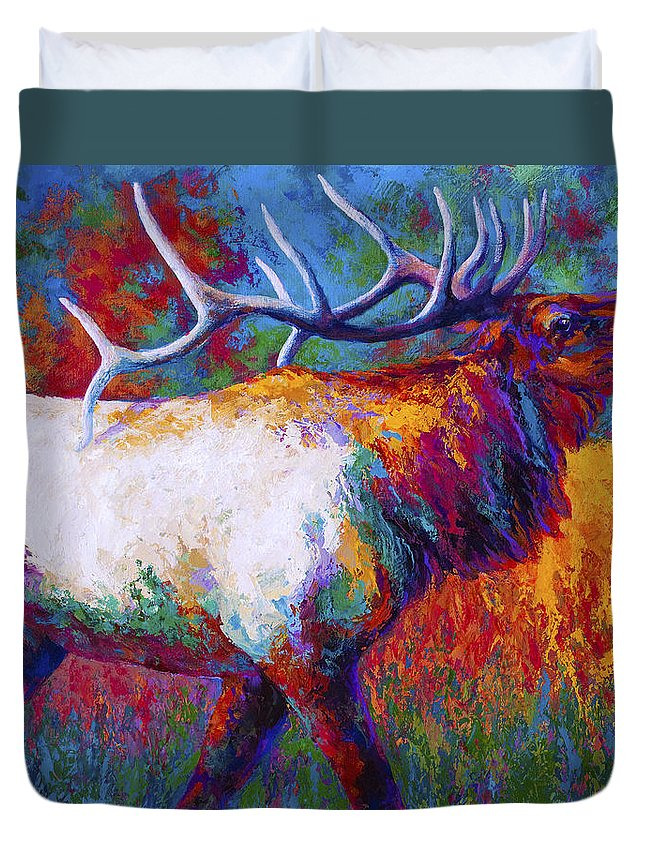 Elk Duvet Cover featuring the painting Autumn by Marion Rose