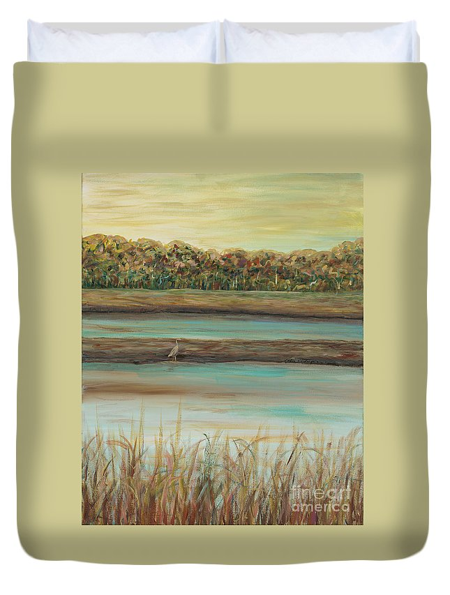 Bird Duvet Cover featuring the painting Autumn Marsh And Bird by Nadine Rippelmeyer