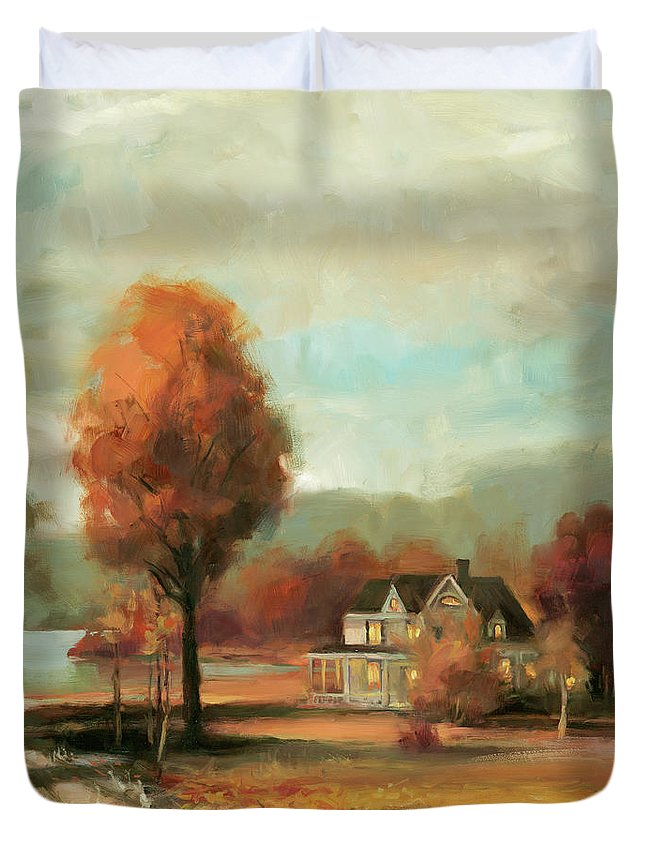 Autumn Duvet Cover featuring the painting Autumn Memories by Steve Henderson