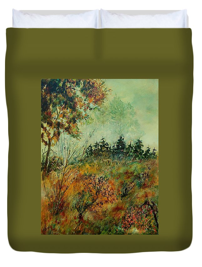 Tree Duvet Cover featuring the painting Autumn Mist 68 by Pol Ledent