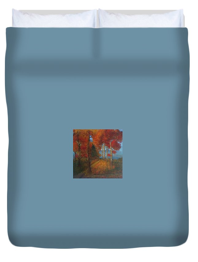 Nature Duvet Cover featuring the painting Autumn Mistery by Anghelescu Cristina