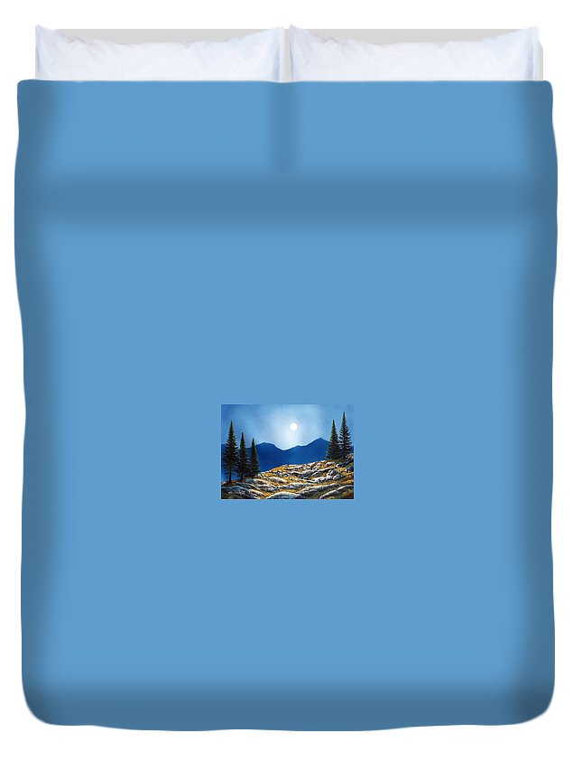 Landscape Duvet Cover featuring the painting Autumn Moon by Frank Wilson