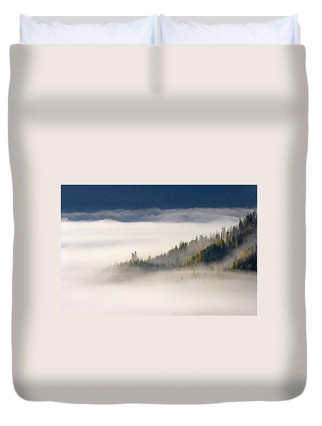 Fog Duvet Cover featuring the photograph Autumn Morn by Mike Dawson