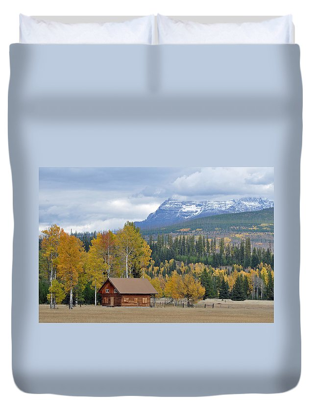 Glacier Duvet Cover featuring the photograph Autumn Mountain Cabin In Glacier Park by Bruce Gourley