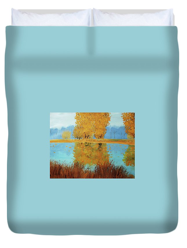 Autumn Duvet Cover featuring the painting Autumn by Nini Gudadze