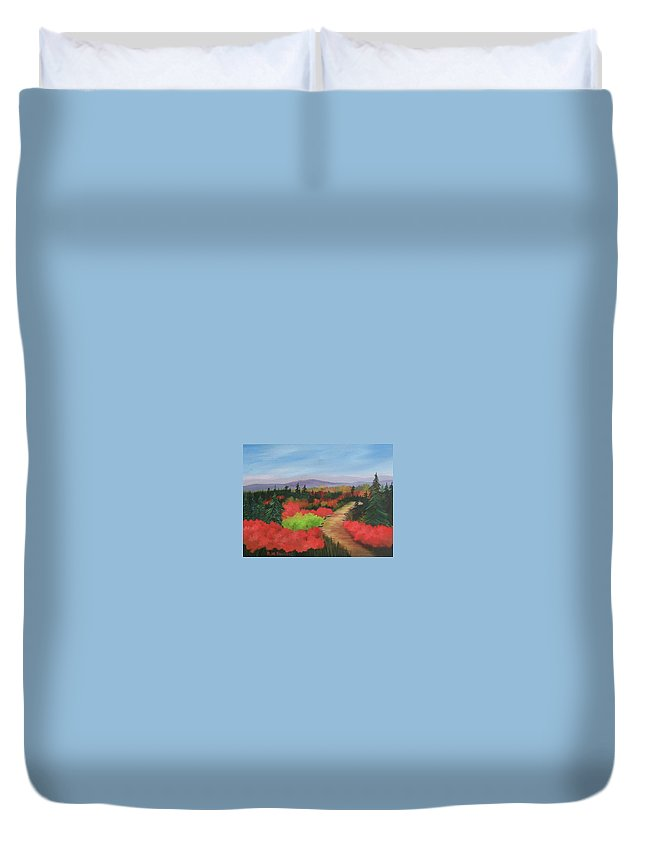Landscape Duvet Cover featuring the painting Autumn On Dolly Sods by Ruth Housley