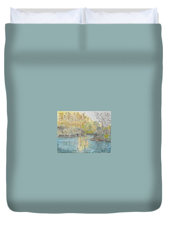 Watercolour Duvet Cover featuring the painting Autumn On The Ausable River by Peggy King