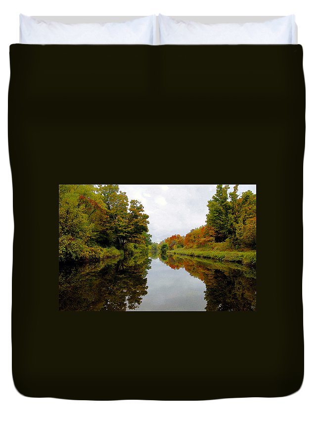 Eire Canal New York Duvet Cover featuring the painting Autumn on the Erie Canal by David Lee Thompson