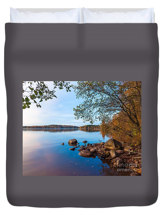 Photography Duvet Cover featuring the photograph Autumn On The Rocks by Ismo Raisanen