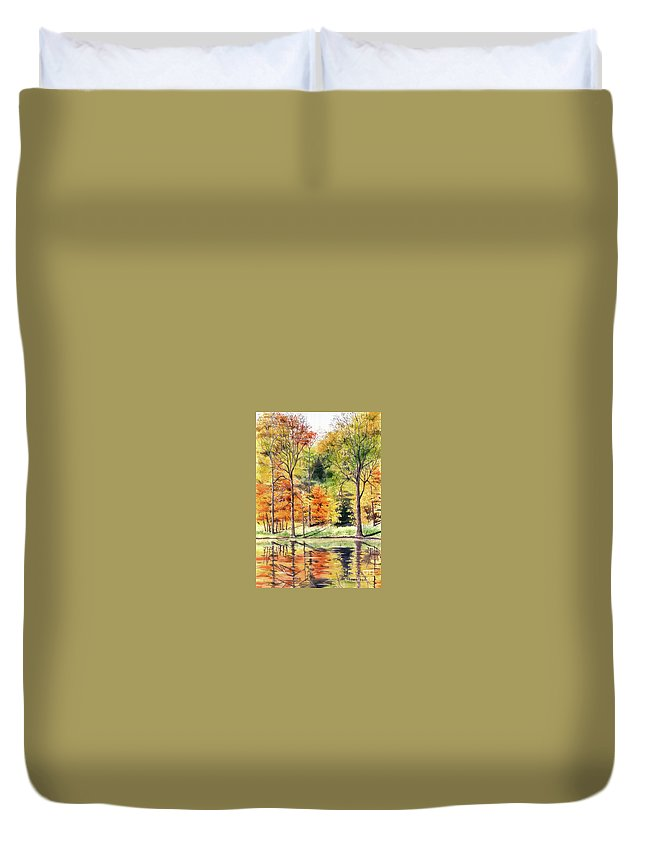 Autumn Duvet Cover featuring the painting Autumn Oranges by Mary Tuomi
