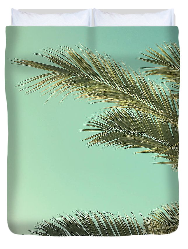 Palm Trees Duvet Cover featuring the photograph Autumn Palms II by Cassia Beck