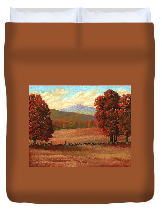 Autumn Duvet Cover featuring the painting Autumn Pastures by Frank Wilson