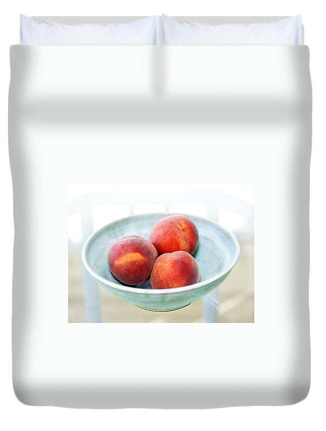 Peaches Duvet Cover featuring the photograph Autumn Peaches by Marilyn Hunt