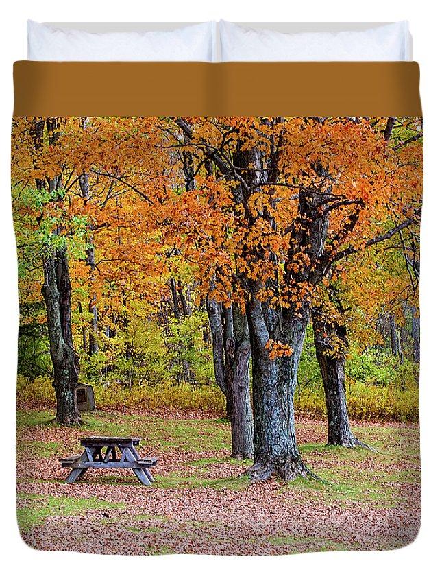 Autumn Duvet Cover featuring the photograph Autumn Picnic by Jack Sassard