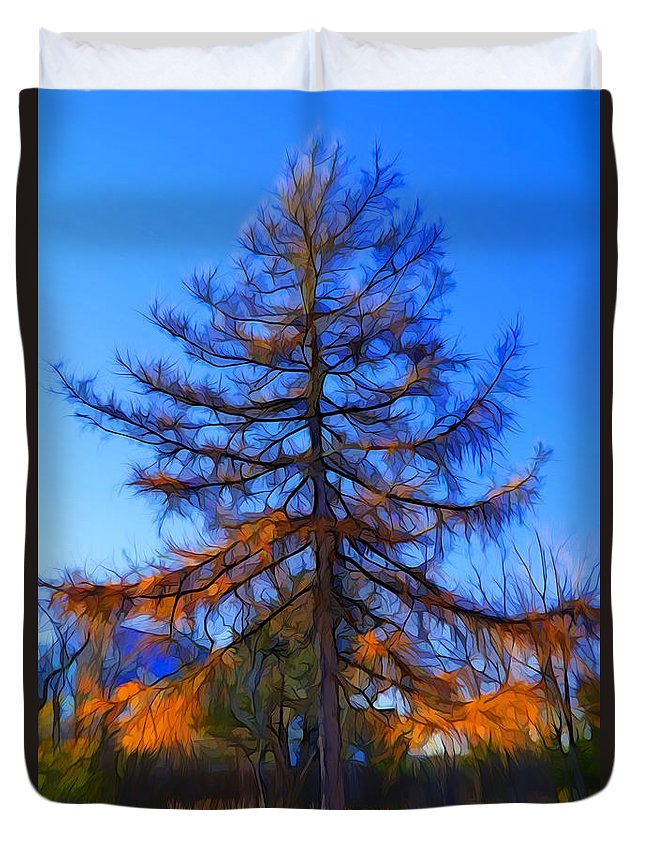 Colorful Tree Duvet Cover featuring the digital art Autumn Pine Tree by Lilia D