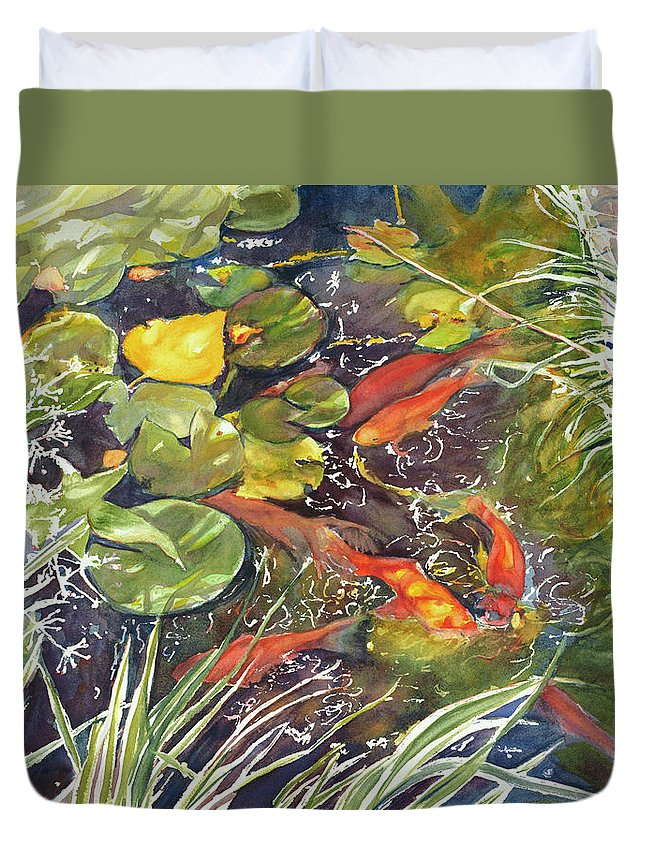 Autumn Duvet Cover featuring the painting Autumn Pond by Madeleine Arnett