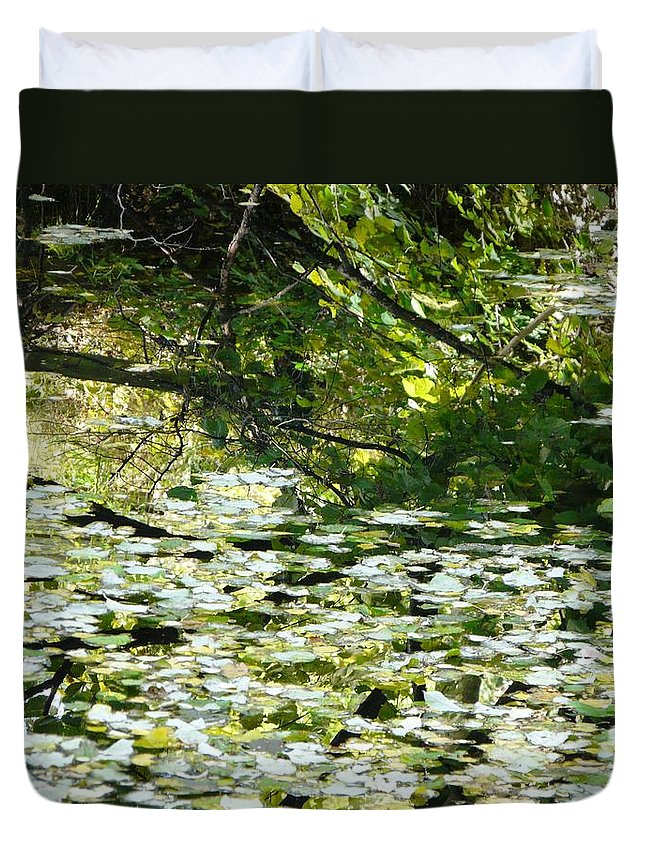 Pond Duvet Cover featuring the photograph Autumn Pond by Valerie Ornstein