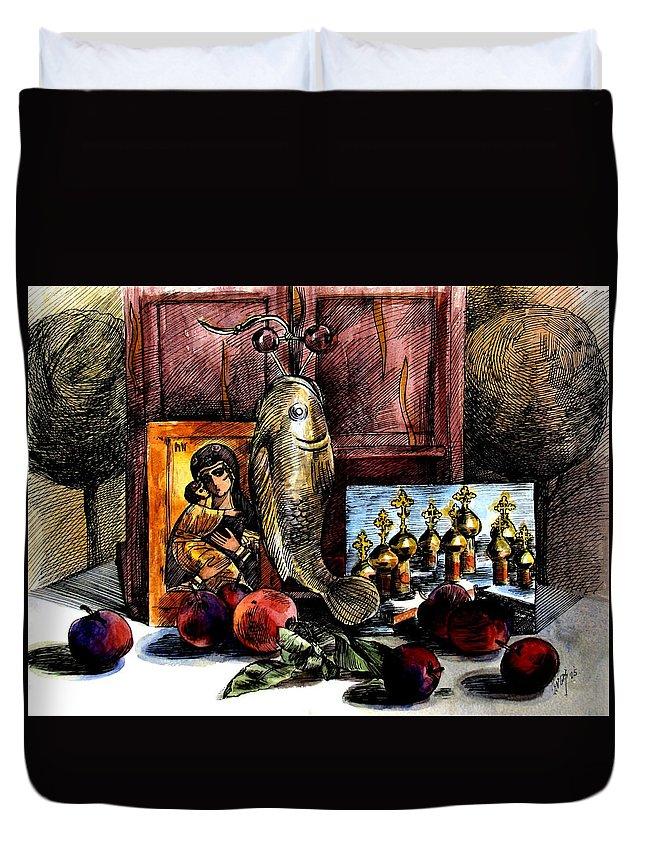 Madonna Duvet Cover featuring the painting Autumn Prayer by Inga Vereshchagina