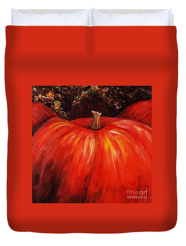 Orange Duvet Cover featuring the painting Autumn Pumpkins by Nadine Rippelmeyer