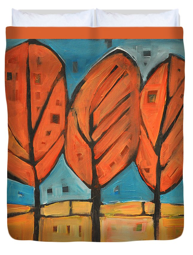 Trees Duvet Cover featuring the painting Autumn Quilt by Tim Nyberg