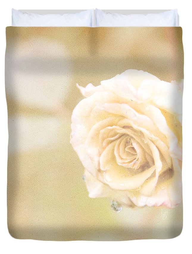 Yellow Duvet Cover featuring the photograph Autumn Rain by Cindy Garber Iverson