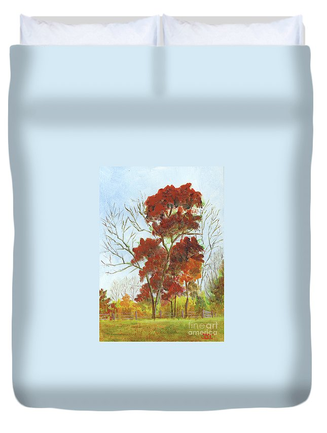Autumn Duvet Cover featuring the painting Autumn Red by Jackie Irwin