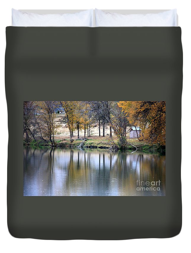 Fall Reflection Duvet Cover featuring the photograph Autumn Reflection 16 by Carol Groenen