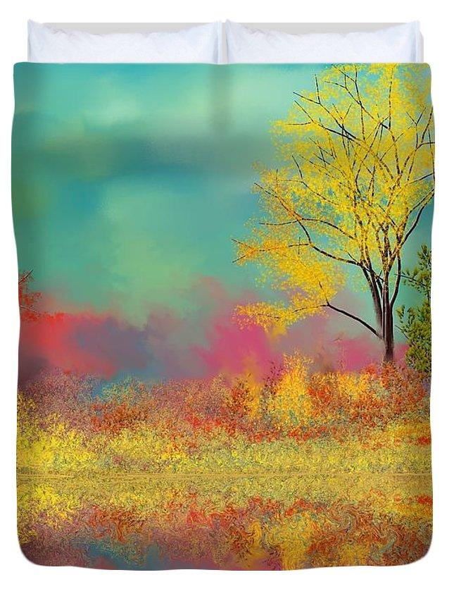 Landscape Duvet Cover featuring the digital art Autumn Reflections by David Lane