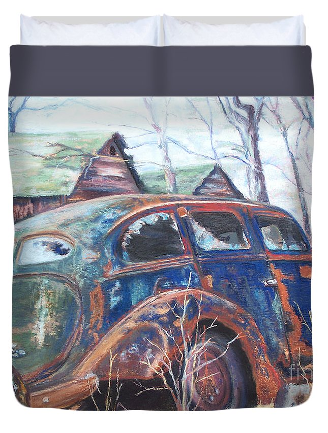 Vintage Auto Duvet Cover featuring the pastel Autumn Retreat - Old Friend Vi by Alicia Drakiotes