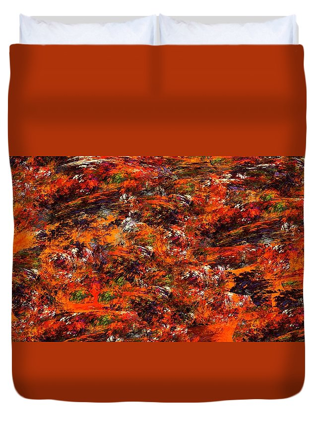 Abstract Digital Painting Duvet Cover featuring the digital art Autumn Riot by David Lane