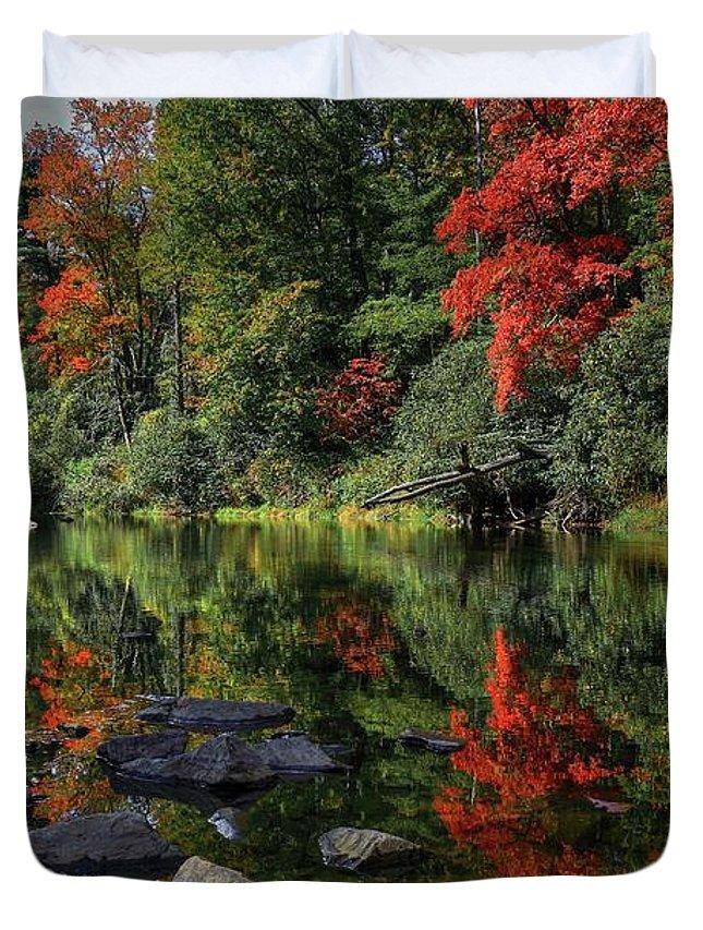 Autumn River Landscape Duvet Cover featuring the photograph Autumn River Landscape by Carol Montoya