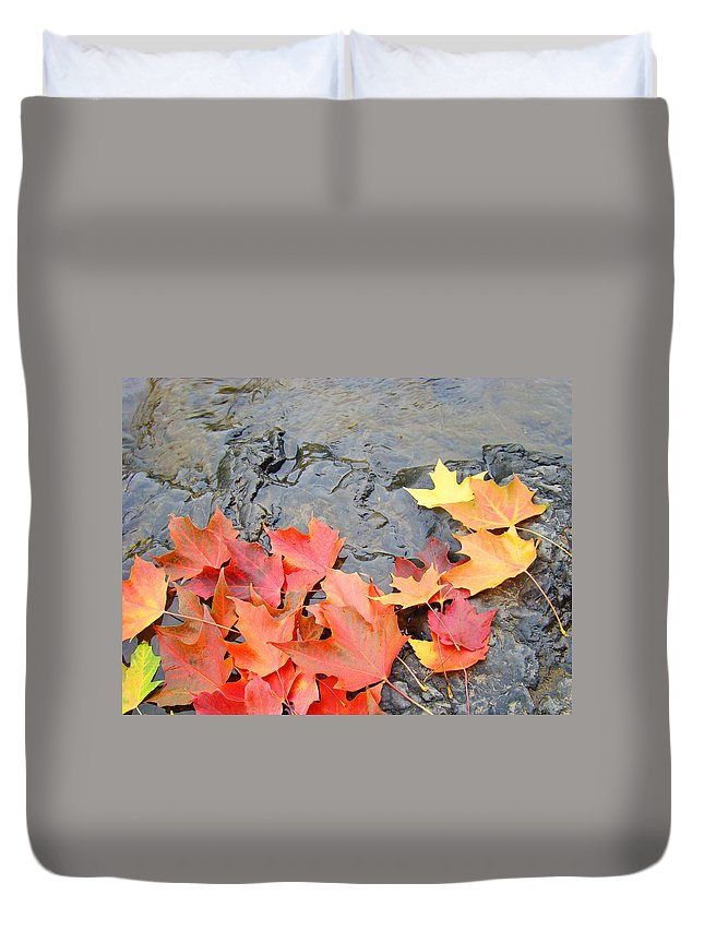 Autumn Duvet Cover featuring the photograph Autumn River Landscape Red Fall Leaves by Baslee Troutman