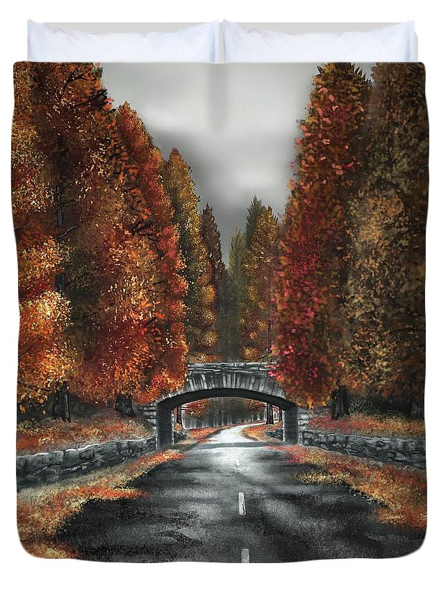 Autumn Duvet Cover featuring the digital art Autumn Road by Paul Dutka