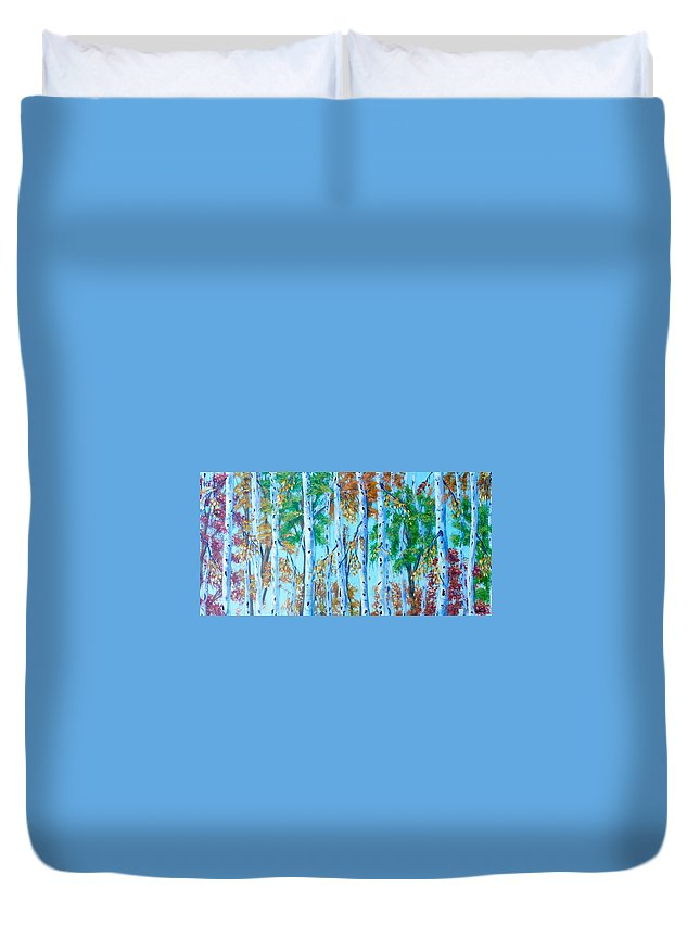 Landscape Painting Duvet Cover featuring the painting Autumn Rush by Tammy Watt