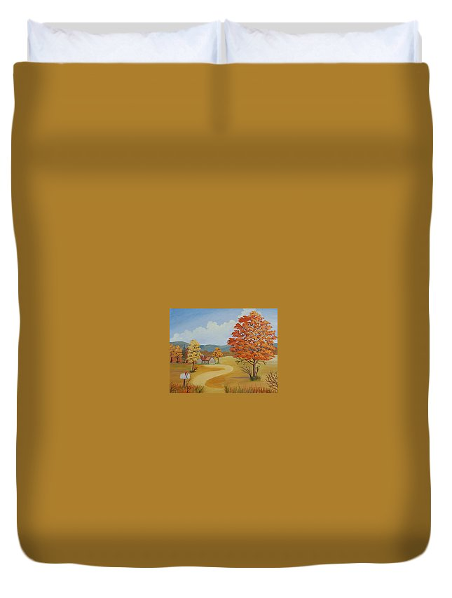 Landscape Duvet Cover featuring the painting Autumn Season by Ruth Housley