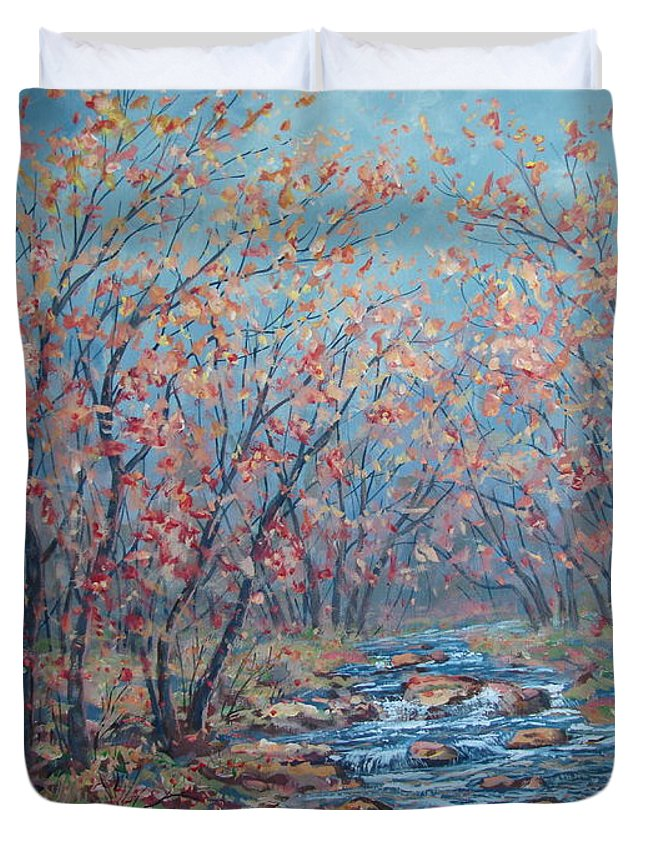 Landscape Duvet Cover featuring the painting Autumn Serenity by Leonard Holland
