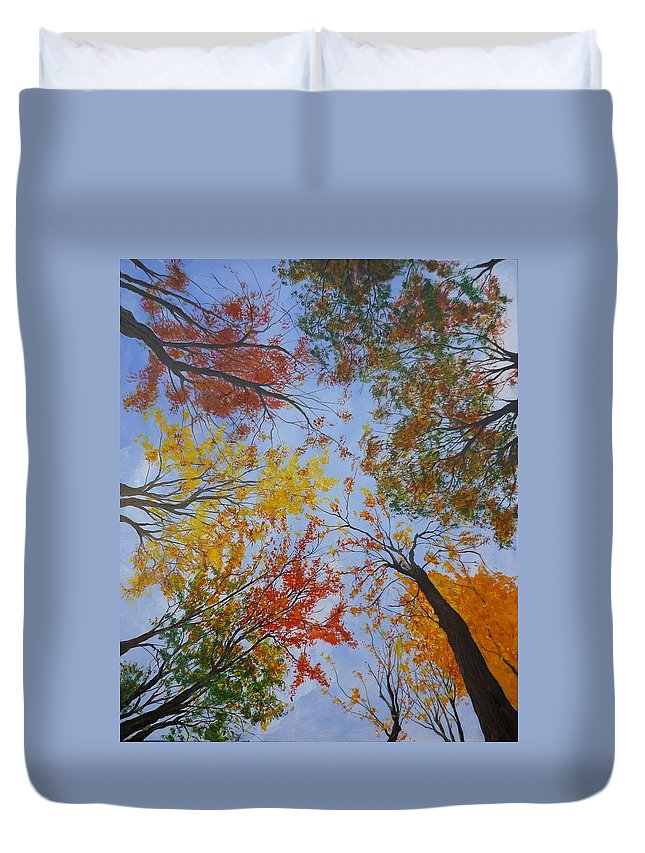 Tree Duvet Cover featuring the painting Autumn Sky by Lizzy Forrester