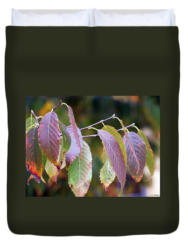 Macro Duvet Cover featuring the photograph Autumn Splendor by Lauren Radke