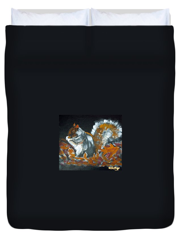 Squirrel Duvet Cover featuring the painting Autumn Squirrel by Richard Le Page