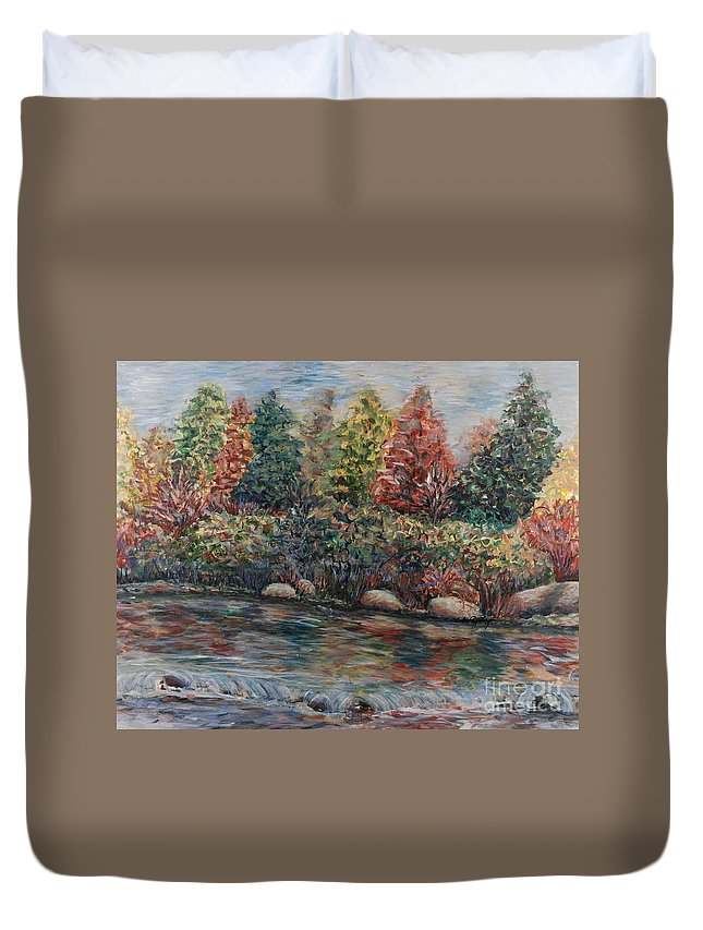 Autumn Duvet Cover featuring the painting Autumn Stream by Nadine Rippelmeyer