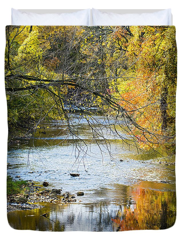 2d Duvet Cover featuring the photograph Autumn Stream Reflections by Brian Wallace