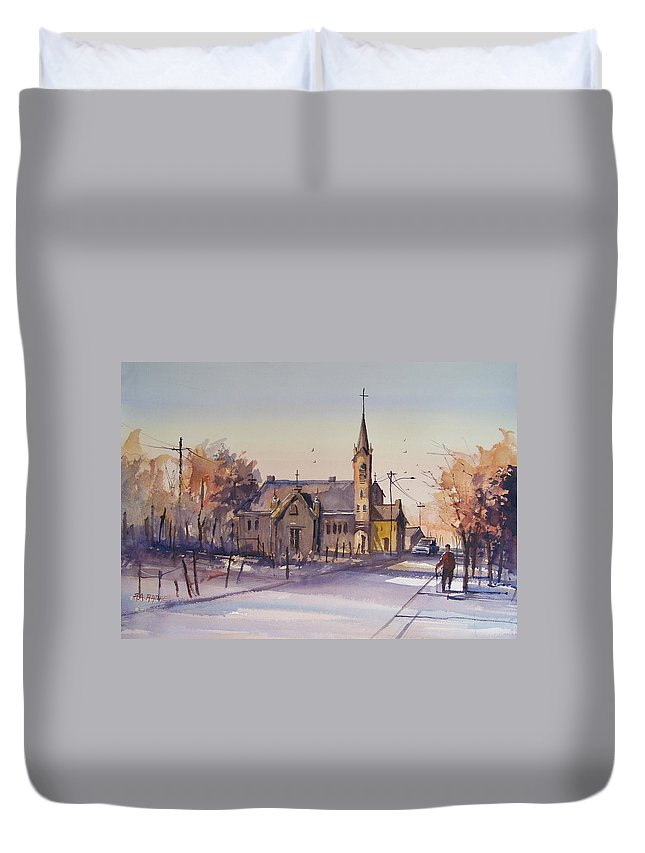 Watercolor Duvet Cover featuring the painting Autumn Stroll In Kaukauna by Ryan Radke