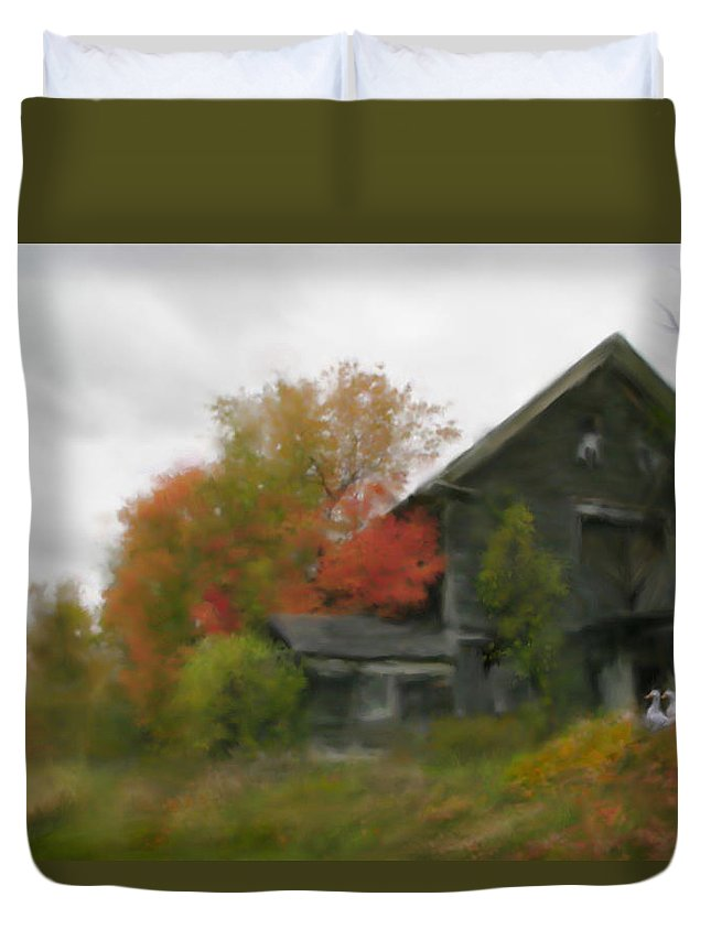 Nature Duvet Cover featuring the painting Autumn Stroll by Stephen Lucas