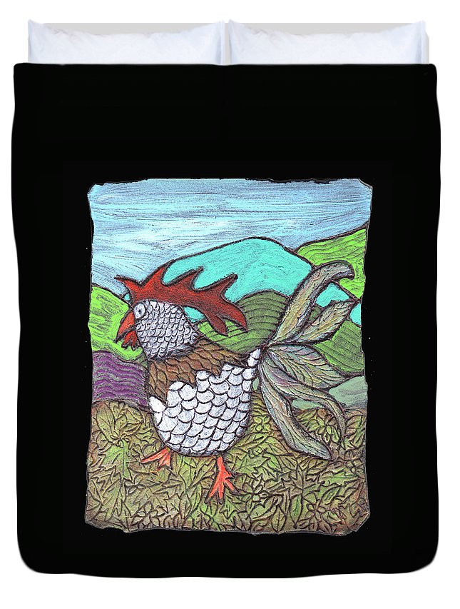 Chicken Duvet Cover featuring the painting Autumn Strut by Wayne Potrafka