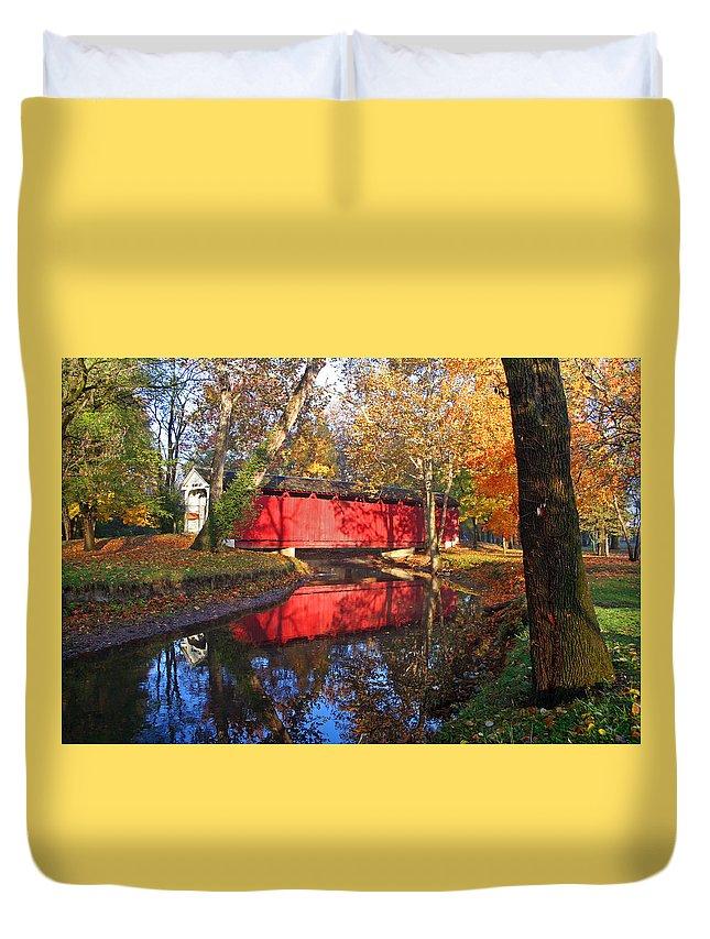 Covered Bridge Duvet Cover featuring the photograph Autumn Sunrise Bridge II by Margie Wildblood
