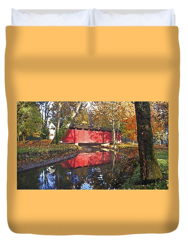 Covered Bridge Duvet Cover featuring the photograph Autumn Sunrise Bridge by Margie Wildblood