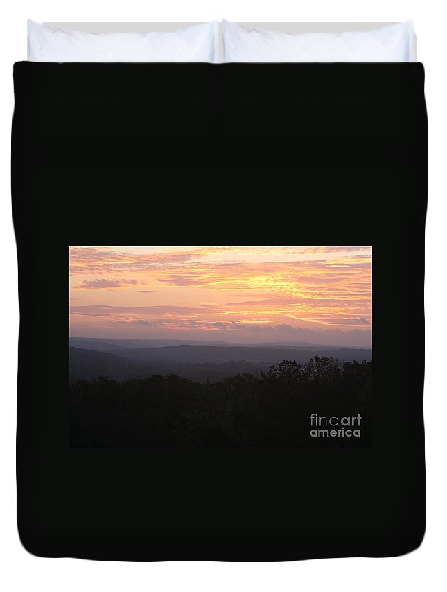 Sunrise Duvet Cover featuring the photograph Autumn Sunrise Over The Ozarks by Nadine Rippelmeyer