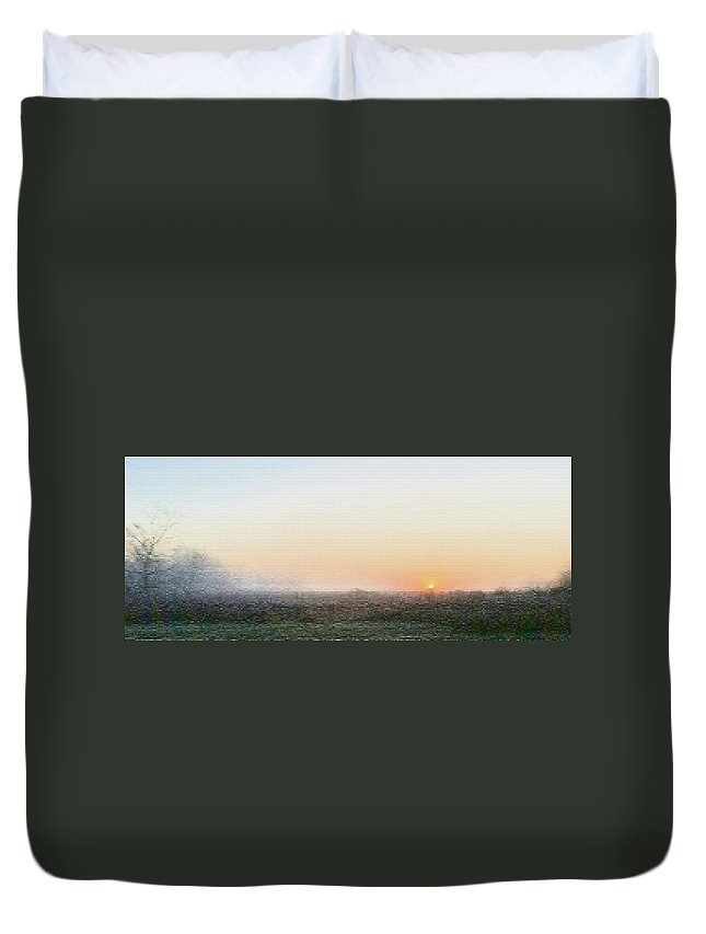 November Morn Duvet Cover featuring the photograph Autumn Sunrise With Fog, Patchwork by Mark Minier