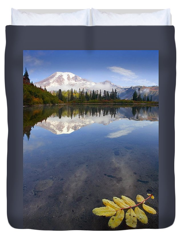 Rainier Duvet Cover featuring the photograph Autumn Suspended by Mike Dawson